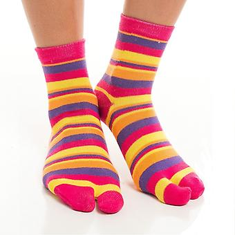 Flip Flop Socks - Pink, Yellow Striped