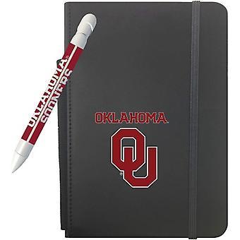 """1209M, Lápiz de saludo Oklahoma Sooners 5"""" X 8.25"""" Notebook y 1 juego de plumas de mensaje giratorio (1209M)"""