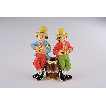 Two Circus Clowns Playing Music Trinket Box