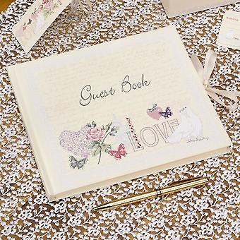 Ivory Wedding Guest Book   With Love Vintage Birthday Memories Keepsake Gift