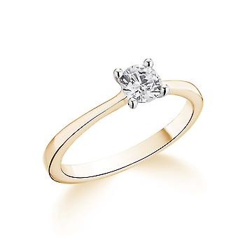 9K Yellow Gold Petite Tapered 4 Prong Setting 0.35Ct Certified Solitaire Diamond Engagement Ring