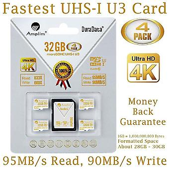 Amplim 4x 32gb micro sd sdhc u3 memory card plus adapter pack (class 10 u3 uhs-i microsd hc extreme