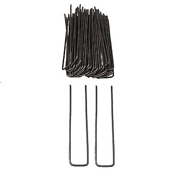 Landscape Garden Staples Anchor Pins for Fabric Topiary Black Set of 50