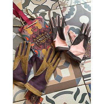 Powder Design Sabrina Wool Mix Gloves with Faux Suede Panels Pink / Brown