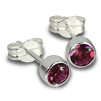 Sterling Silver Cubic Zirconia Unisex Stud Earrings 2 Carat - Fuchsia/rose