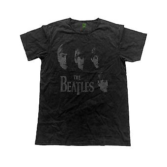 Het bandlogo Beatles T Shirt gezichten officiële Mens Vintage afwerking zwart