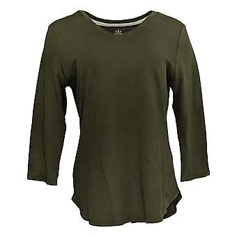 Isaac Mizrahi Live! Women's Top Cotton Curved Hem Green A368549