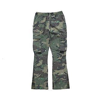 Pantalon évasé Distressed Camouflage Splash, poches homme et femme