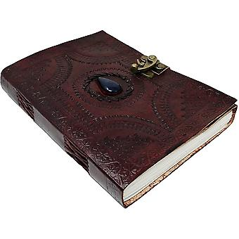 10 Inch Leather Journal with blue stone Writing Pad Blank Notebook