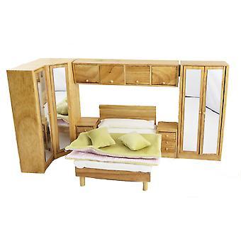 Dolls House Light Oak Bedroom Furniture Set With Over Bed Storage Units