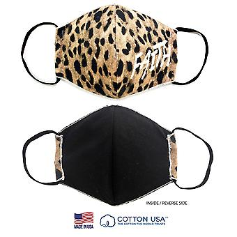 100 % Baumwolle made In The Usa Faith Leopard 3d Stoff Gesichtsmaske