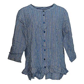 Joan Rivers Women's Plus Top Gingham Button Front w/ Ruffles Blue A351478