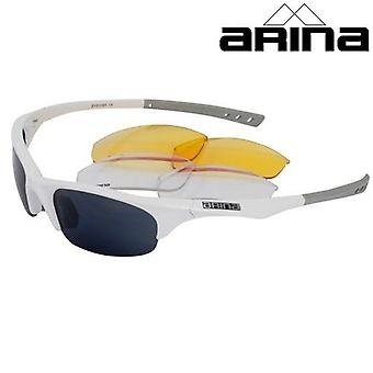 Arina Shield Sunglasses White / Grey frame with 3 Lenses
