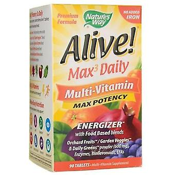Nature's Way Alive Max3 Daily Multi-Vitamin no added Iron Tablets