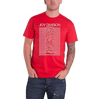 Joy Division T Shirt Unknown Pleasures White On Red Logo new Official Mens Red