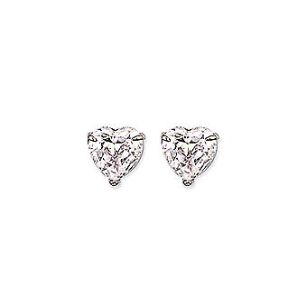 Jewelco London Ladies Rhodium Banhado Sterling Silver Heart Cubic Zirconia Love Heart Solitaire Stud Brincos 10mm