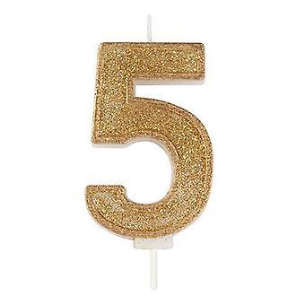 Kultainen kimalteleva numerokynttilä - numero 5 - 70mm