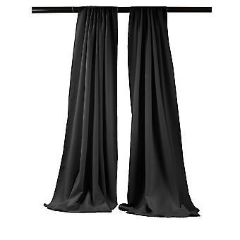 La Leinen Pack-2 Polyester Poplin Hintergrund Drape 96-Zoll breit von 58-Zoll hoch, schwarz