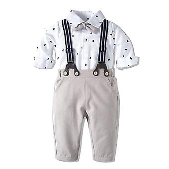 Romper Clothes Set, Baby With Bow Hat Gentleman Striped Summer Suit