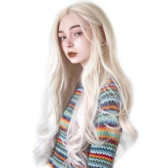 الألياف شعر مستعار المرأة & s منتصف الطول طويل الشعر المجعد البيج موجة كبيرة