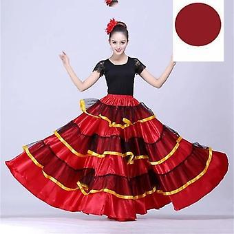كبير الاسبانية الفلامنكو تنورة الرقص المرحلة ارتداء الأداء حزب تنورة حمراء
