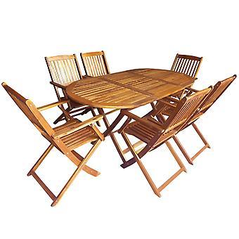 7 piezas plegables al aire libre comedor conjunto sólido madera de acacia