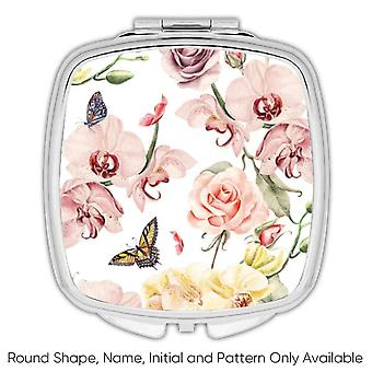 Gift Compact Mirror: Orchids Butterflies Rose