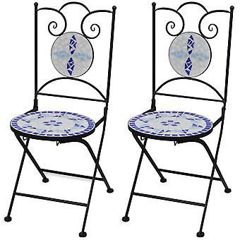 vidaXL Bistro chairs Folding bar 2 pcs. ceramic blue and white