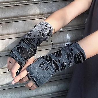 Punk musta rikki viilto goottilainen unisex sormiton käsine