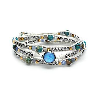 Boho betty america white gemstone 3 wrap bracelet