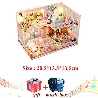 Warm and pink diy doll house wooden doll houses miniature dollhouse furniture kit toys for children christmas gift
