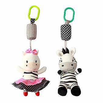2pcs Zibras Baby Hanging Toys Children Rattle Toys With Chime Soft Plush Rattling Doll