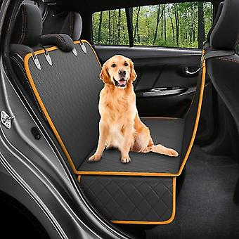 Dog Back Seat Cover Protector Hammock, Pets Seat Covers For Cars Black(Orange Black)