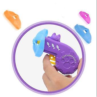 Färgglada UFO Kids leksakspistol, Barnens nostalgiska leksak Färgglada Flygande Tefat Husdjur Leksak Gun (Lila)