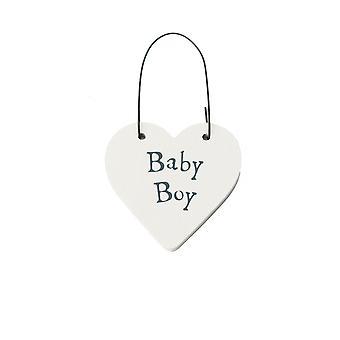 Baby Boy Mini Wooden Hanging Heart - Cracker Filler Gift