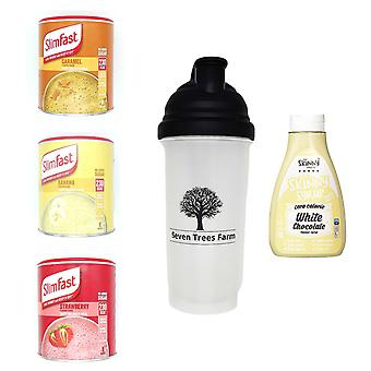 Seven Trees Farm Kit with 5 products | 1 x Caramel, 1 x Banana, 1 x Strawberry Shakes, 1 x Shaker and 1 x White Chocolate Flavour Syrup