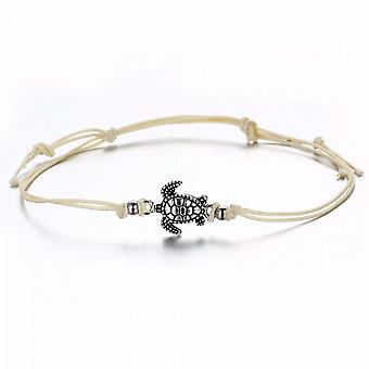 Vintage Wax Rope Anklet Bracelet Ancient Silver Three-color T Urtle Beach
