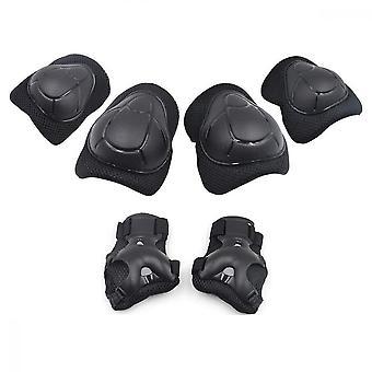 Knäskydd för barn, justerbara handledsskydd 6 i 1 kit skyddsutrustning armbåge, svart
