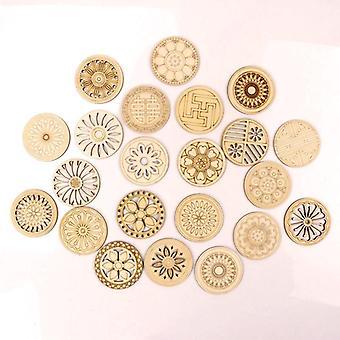 Retro Frame Wooden Pattern Round Scrapbooking Craft Handmade Accessory
