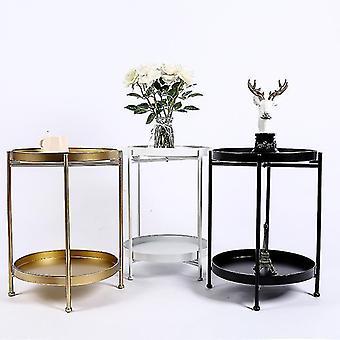 コーヒー テーブル ダブル レイヤー 鉄アート スモール コーナー ラウンド テーブル リビングルーム ソファ サイド テーブル ベッドサイド