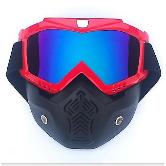 Motorcycle Helmet With Detachable Face Shield, Riding Goggles And Glasses