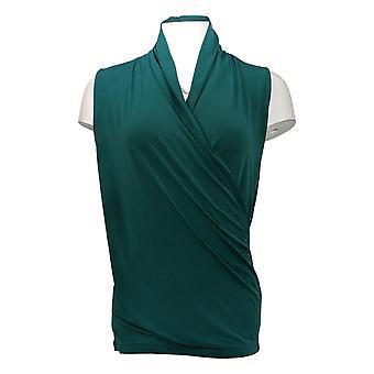 IMAN Global Chic Women's Top Sleeveless Drape-Front Green 709239