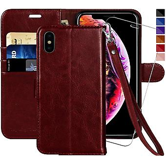 iPhone XS Wallet Case/iPhone X Wallet Case,5.8-inch,MONASAY [Glass Screen Protector Included] Flip