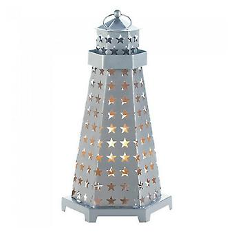 Gallery of Light Star Cutouts Lighthouse Metal Candle Lantern, Pack of 1