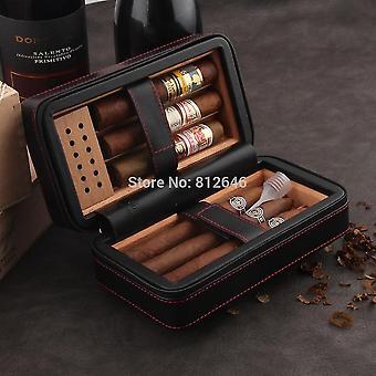 Boîte à cigares de voyage humidor en cuir