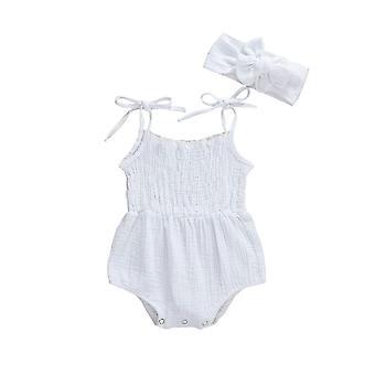Neugeborene Baby Mädchen Baumwolle Leinen Bodys ärmellose Jumpsuits + Stirnband Outfits (Weiß)