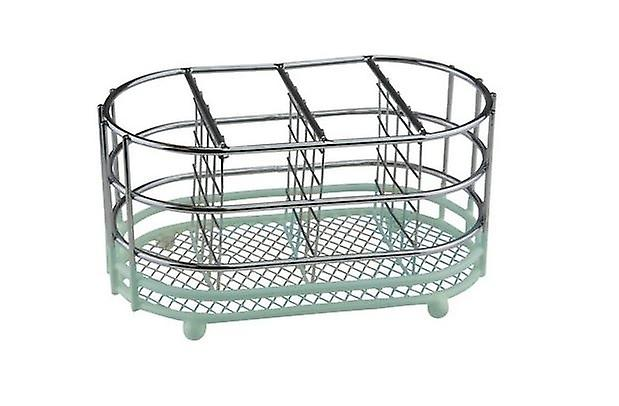 Stylish Calm Chrome Mint Colour Oval Cutlery Caddy Drainer 4 sections