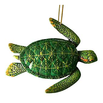 Tropical Reef Green Sea Turtle Green and Yellow Christmas Ornament