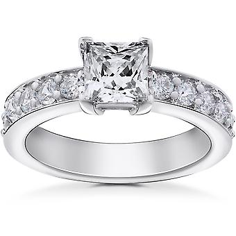 2 ct Princess Cut Diamond Engagement Ring 14K White Gold