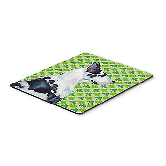 Great Dane St. Patrick's Day Shamrock portret Mouse Pad, hete Pad of onderzetters